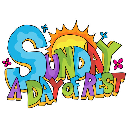 An image of Sunday - a day of rest text. Vector