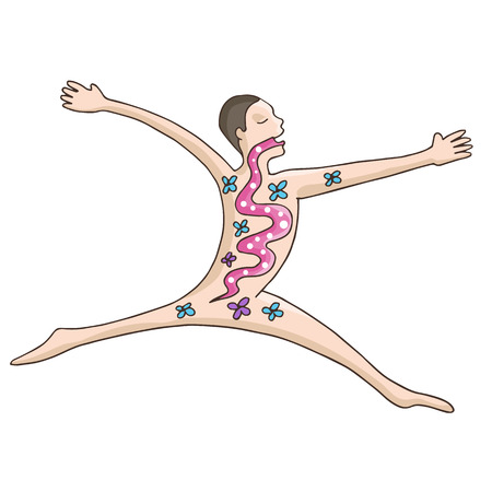 digestive health: Una imagen de un hombre la digesti�n sana.