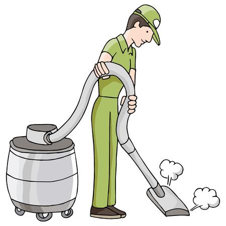 乾式、湿式真空を使用している人のイメージ。