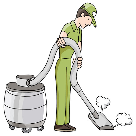 carpet clean: An image of a man using a wet dry vacuum. Illustration