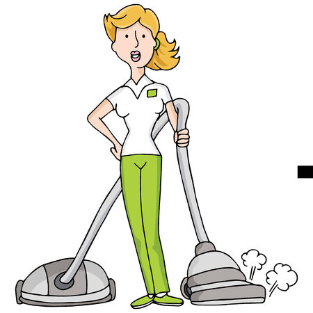 home keeping: An image of female with a vacuum cleaner.