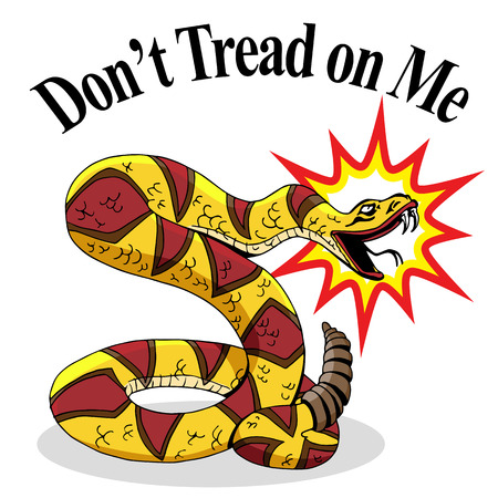 liberties: An image of a rattlesnake with dont tread on me text.