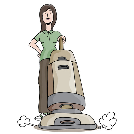 An image of girl using a carpet cleaning vacuum. Illustration