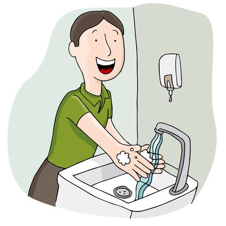 Een beeld van een man wast zijn handen.