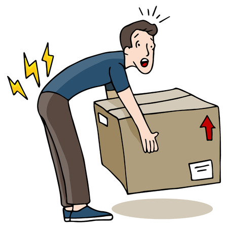 cartoon accident: An image of a man injuring his back while lifting a box.