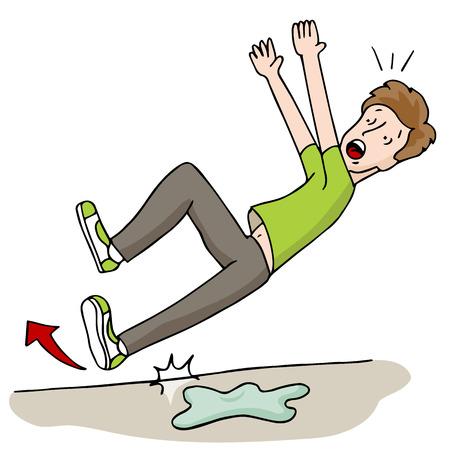 hombre cayendo: Una imagen de un hombre sliipping en un piso mojado.