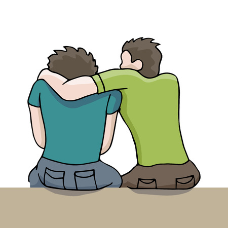 An image of a man comforting a sad man. Ilustrace
