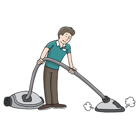 An image of a man using a carpet steam cleaner. Vector