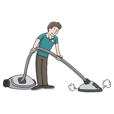 Una imagen de un hombre usando un limpiador de vapor de la alfombra. Foto de archivo - 29380147
