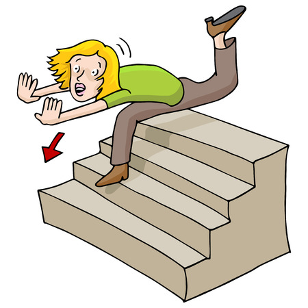 clumsy: An image of a woman falling down a flight of stairs. Illustration
