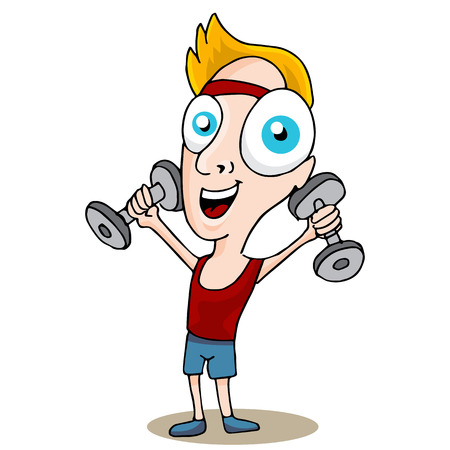 An image of a fitness man holding exercise weights. Vector