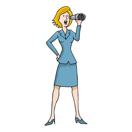 An image of a business woman using binoculars. Ilustracja