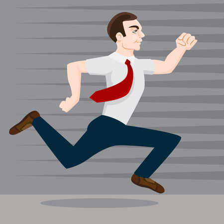 hurried: An image of a running businessman.