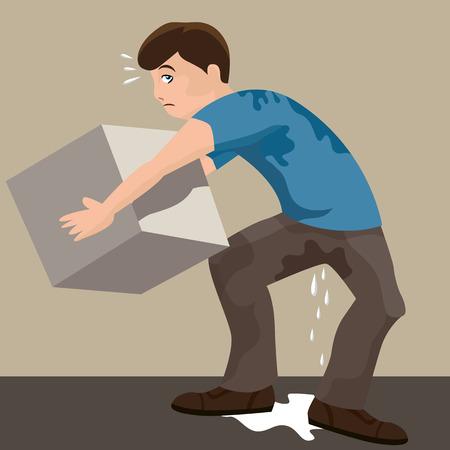 重い箱を持ち上げる汗をかく男のイメージ。