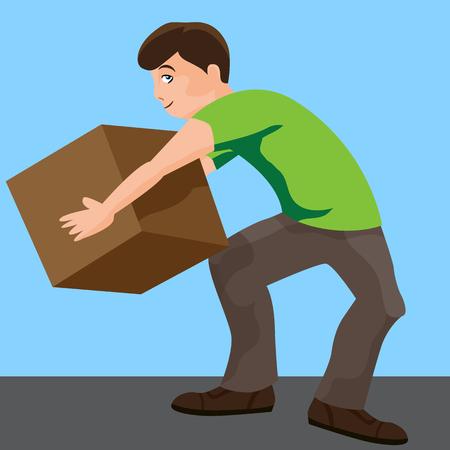 An image of a man lifting a box.