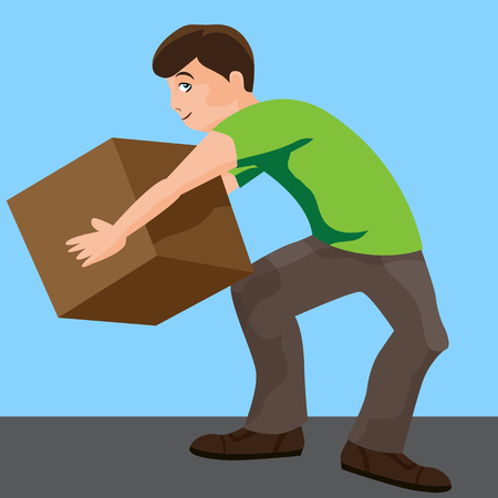 An image of a man lifting a box. Vector