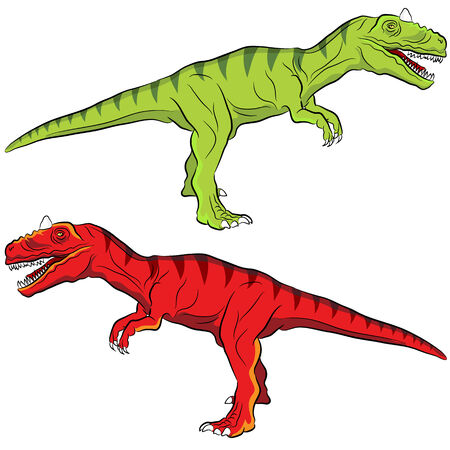 large skull: An image of an allosaurus dinosaur set. Illustration