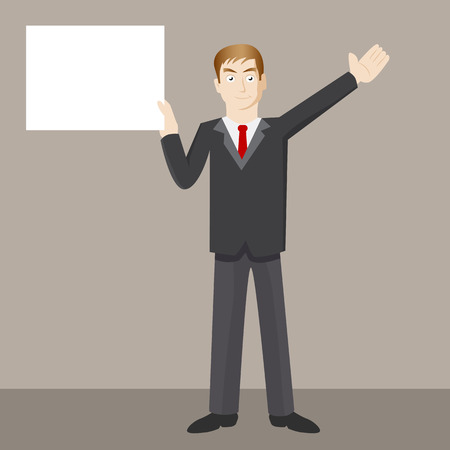 An image of a businessman holding a blank sign.