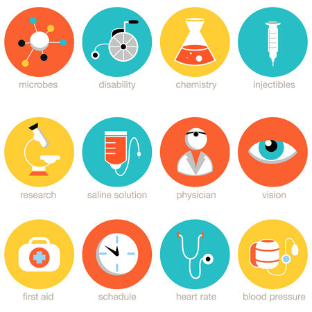 blood pressure monitor: medical science icon set. Illustration
