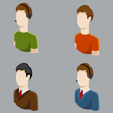 An image of business male profile icons. Vector