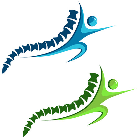 An image of a set of healthy spine icons. Illustration
