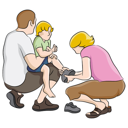 An image of boy getting shoes tied. Vector