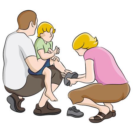 niños vistiendose: Una imagen de los zapatos del niño que consigue atado.