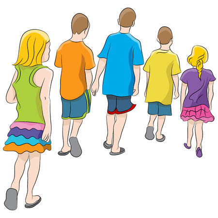 back view: An image of brothers and sisters walking together. Illustration