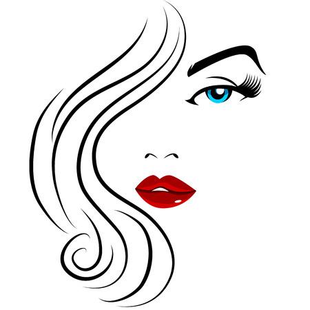 Obraz hezká tvář holku. Ilustrace