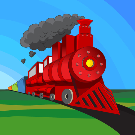 An image of a coal engine locomotive train. Vector