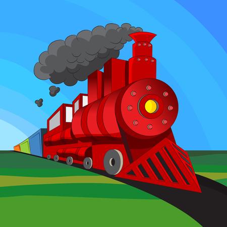 An image of a coal engine locomotive train. Vector