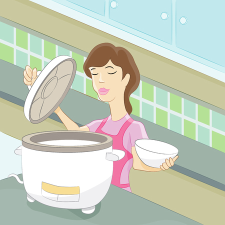 corded: An image of a woman in the kitchen using a rice cooker. Illustration