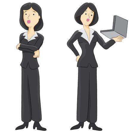 impatient: Une image d'une femme d'affaires utilisant un ordinateur portable.