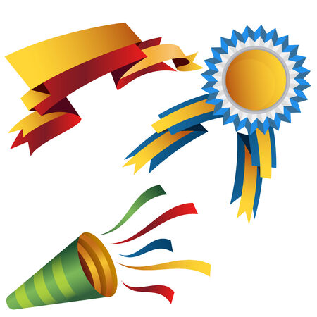 new year party: An image of a set of celebration ribbons and horn.