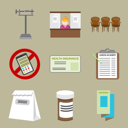 appointments: An image of doctor office icons.