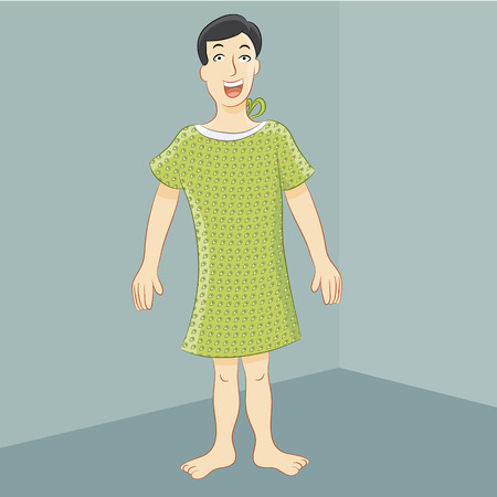 hospital gown: An image of a man wearing a hospital gown. Illustration