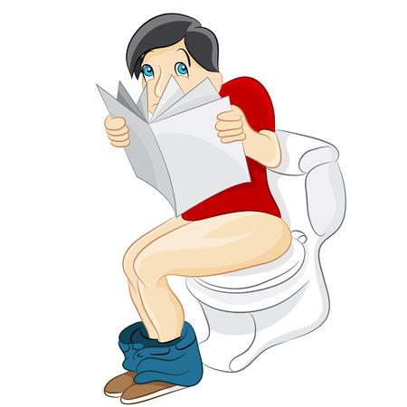 An image of a man reading on the toilet. Vector