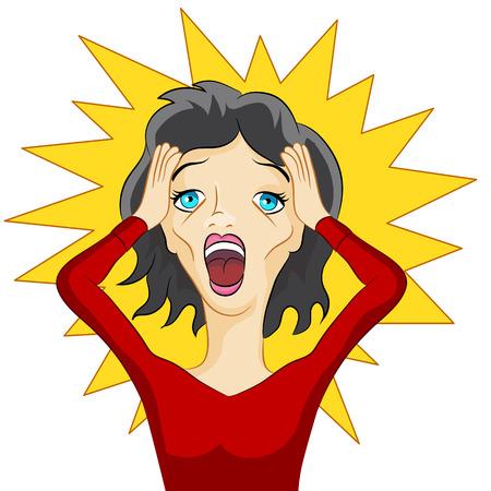 パニックに女の子のイメージ。  イラスト・ベクター素材