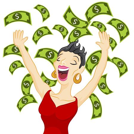 An image of a girl winning cash. Illustration