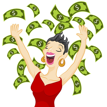 An image of a girl winning cash. Illustration
