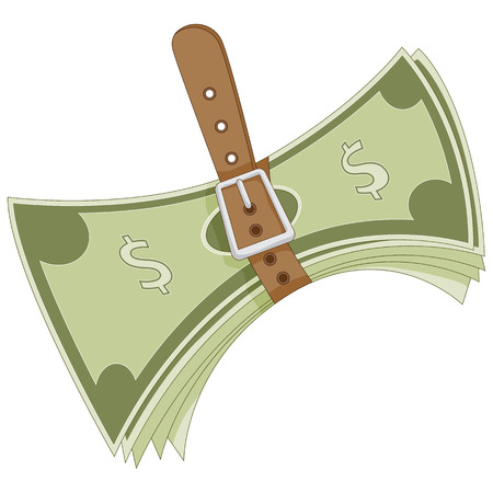 tightening: An image representing the budgeting of money - tightening the belt.