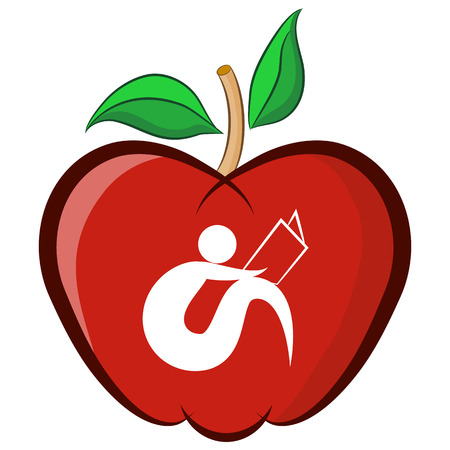 An image of an education apple. Vector