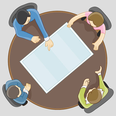 round chairs: An image of people having a team meeting.