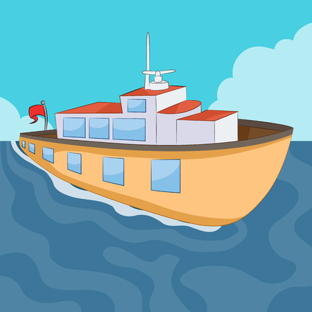 An image of a ferry boat. Illustration
