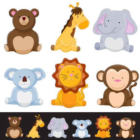 stuffed animals: An image of a cute animal set. Illustration