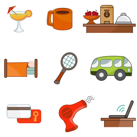 An image of hotel amenity icons. Vector