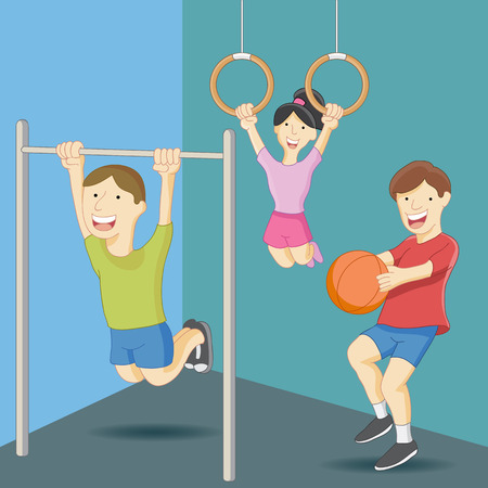 An image of physical education class kids. Vector Illustration