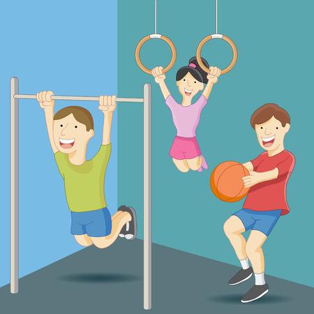 educacion fisica: Una imagen de los ni�os de la clase de educaci�n f�sica. Vectores