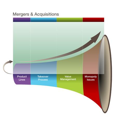 合併や買収の 3 d グラフのイメージ。  イラスト・ベクター素材