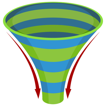 An image of a 3d spiral funnel chart.
